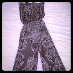 Gray paisley jumpsuit INC medium
